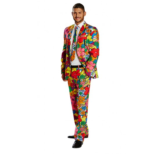 Flower Power suit verkleedkleding heren