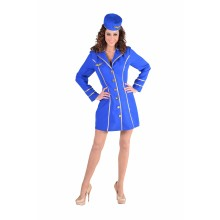 Stewardess jurk dames kobalt