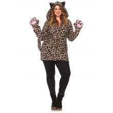 Cozy Leopard kostuum dames plus