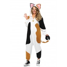 Cozy Calico Cat Onesie kostuum dames