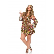 Starflower Hippie kostuum dames plus