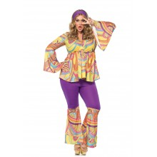 Purple Haze Hippie kostuum dames plus